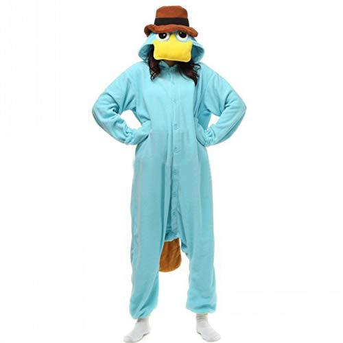LSHEL Cosplay Mono Animal Cartoon Carnaval Disfraz de Halloween Fleece Jumpsuit Pijamas Unisex Adulto Pijamas de una Pieza, Ornitorrinco Azul, L (Altura: 165-172 cm)