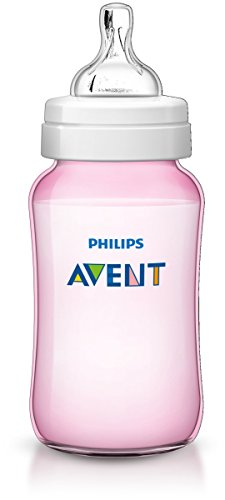 Philips Avent SCF567/17 - Biberón Classic+ de 330 ml, tetina de flujo variable, anticólico, color rosa