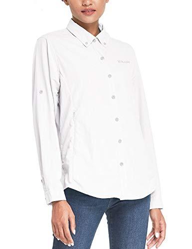 BALEAF Women's Hiking Shirts UPF 50 Quick Dry Zip Pockets Long Sleeve Camping Fishing Travelling White M
