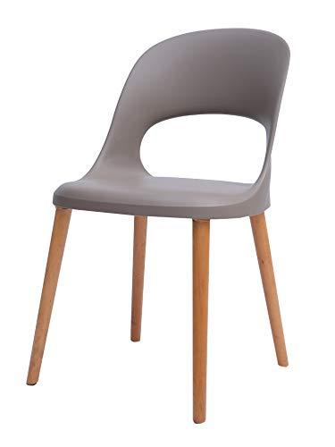 "Amazon Brand - Rivet Henrik Modern Open-Back Plastic Dining Chair, 18.5""W, Mild Gray"