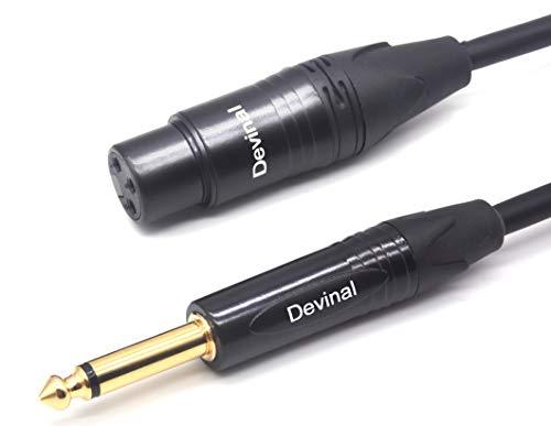 Devinal XLR auf 6.35 mm Mikrofon Kabel, TS zu XLR-Stecker unsymmetrisches Audiokabel, 1/4 Zoll Mono Stecker auf XLR weiblich (1,8 M / 6 Füße)