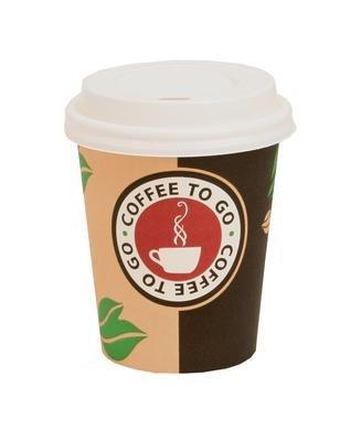 1000 x Coffee-to-go beker 0,2 liter met deksel # elegant design # kartonnen beker 200 ml # papieren beker van 320 papier # voor party, kiosk, tankstation of gewoon voor thuis # wegwerpbeker om mee te nemen # cappuccino latte macchiato koffie café
