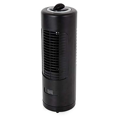 BLACK+DECKER BXFT50003GB Mini Tower Fan, Bedside Table or Desk Fan, 2 Speed Settings with 70 Degree Oscillation, 12 Inch, Black