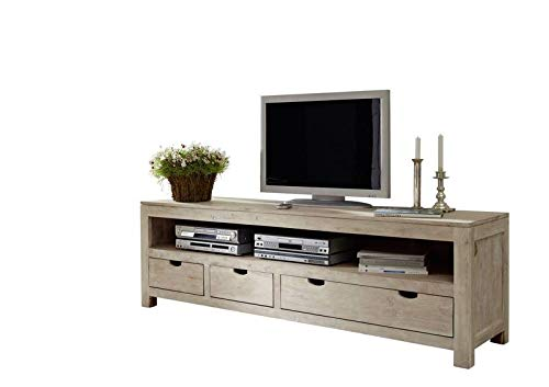Meuble TV - Bois massif d'acacia blanchi - NATURE WHITE #44