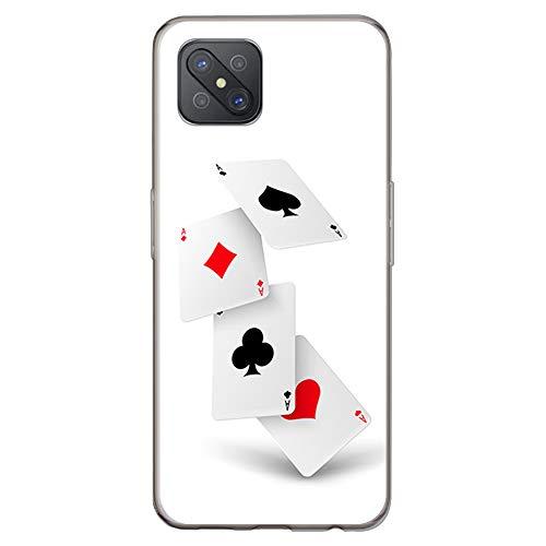 BJJ SHOP Funda Transparente para [ OPPO A92s ], Carcasa de Silicona Flexible TPU, diseño: Poker de ases, Azar Cartas de Juego