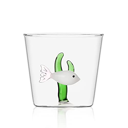Ichendorf Milano 9352057 Tumbler con Pesce Bianco/Alga Verde, Glass