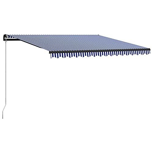 Tidyard Toldo con Manivela Manual Retráctil Impermeable Protección Solar Patio Lona Parasol Porche Jardín Sombra Exterior Terraza Azul y Blanco 400x300 cm
