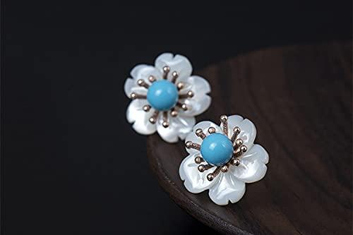 SALAN S925 Pendientes De Flor De Concha De Plata Esterlina Perlas De Turquesa Pendientes De Botón Moda Étnico Mujeres Libres De Alergias