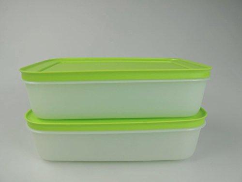 TUPPERWARE Gefrier-Behälter 1,0 L grün-weiß flach (2) Eis-Kristall Eiskristall