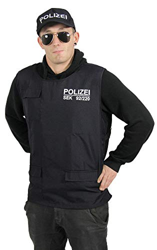 Foxxeo Polizei Weste und Polizei Mütze für Erwachsene SEK Uniform SWAT Kostüm Set für Herren Fasching Karneval Größe L