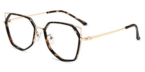 Firmoo Occhiali di Gatto Donna Luce Blu Bloccanti per il Mal di Testa, Occhiali per Computer Antiriflesso Dormire Meglio (Tartaruga-Oro)