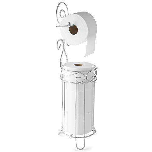 toilet paper holder for 3 rolls + 1 dispenser - free standing toilet paper holder - Chrome finish toilet paper storage with toilet roll holder at once - great Bathroom Storage Organizer, or Restroom
