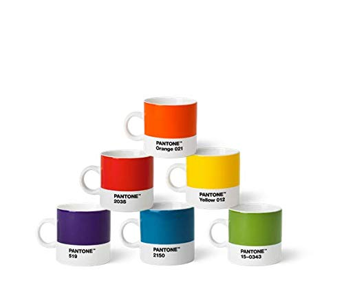 Pantone Porzellan Espressobecher 6er-Set, 6 Espressotassen à 120 ml, Coffee, mit Henkel, spülmaschinenfest, Klassische Farben