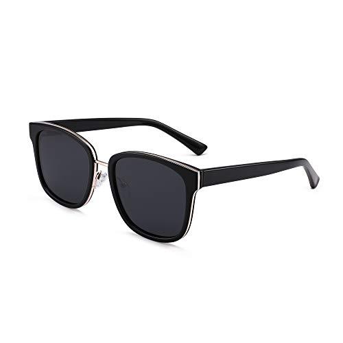 GLINDAR Gafas de sol polarizadas para mujer con protección UV de lentes cuadradas vintage (negro/gris)