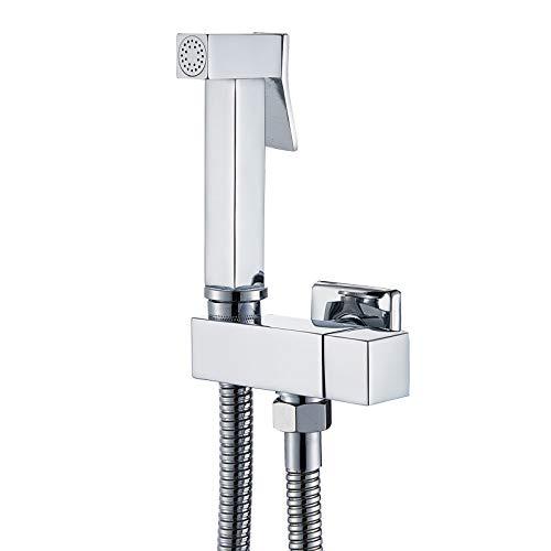 GFHDGTH Enkele koude waterhoek ventiel Bidet kranen, massief messing vierkante hand douchekop kraan 90 graden schakelaar Chrome Bidet Faucet