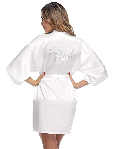 Aibrou Damen Morgenmantel Kimono Bademantel Nachtwäsche Sleepwear Kurz Satin Robe Bademante mit V Ausschnitt Gürtel für Braut Hochzeit Party Brautjungfern Junggesellenabschied