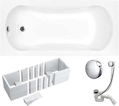 VBChome Badewanne 130x70 cm Acryl SET Wannenträger Siphon Wanne Rechteck Weiß Design Modern Styroporträger Ablaufgarnitur in Chrom Viega Simplex (130x70 cm)