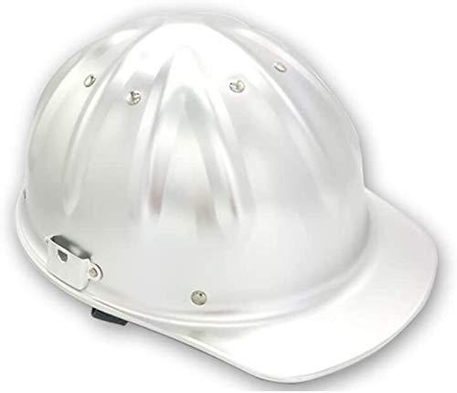 WEN Aluminium Helm Arbeitshelm Einstellbare Schutzhelm Bauhelm mit 4-Punkt-Gurtband Bauhelm mit justierbarem Helm, Bauhelm Aluminium Hard Hardhats (Color : Aluminum Color)