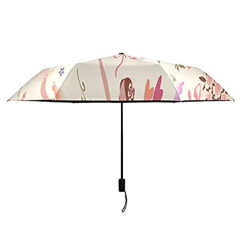 Paraguas a prueba de viento bailarinas con rosa gloriosa rosa flor niño paraguas portátil ligero viento paraguas mujer sol lluvia perfecta paraguas plegable niños al aire libre