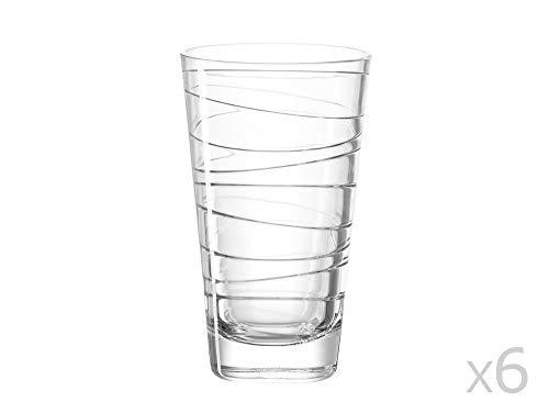 Leonardo Vario Struttura Becher groß, 6-er Set, 280 ml, Trinkglas mit eingepresstem Dekor, spülmaschinenfest, 019450