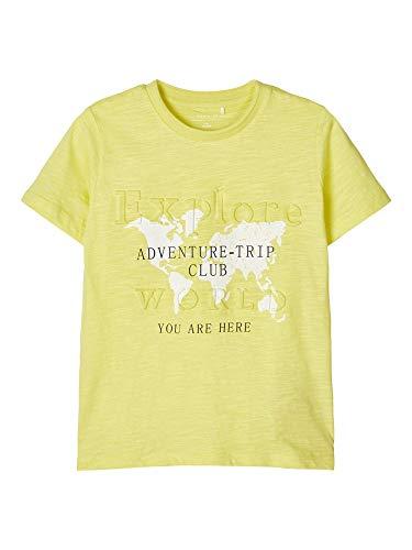 NAME IT Jungen NKMFLOREK LS TOP T-Shirt, Limelight, 134-140