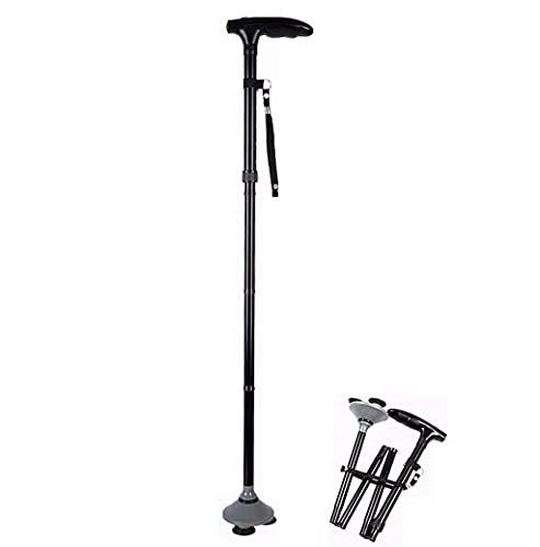 Bastón para Caminar Muleta Plegable con luz LED Bastón de Aluminio Ajustable en Altura Estampado Triangular para Personas Mayores y escaladores muleta-11.19