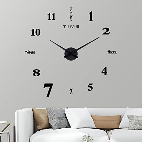 VIVILINEN, Reloj de Pared Grande DIY, sin Marco, Moderno, silencioso, Pegatina de Espejo 3D, Reloj DIY, decoración del hogar y la Oficina (Negro)
