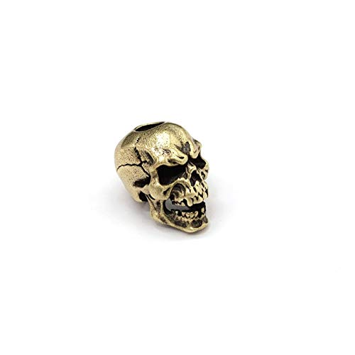 Me Plus Drawihi Brass Skull Knife Beads Umberalla Rope Bead White Copper Retro Skull Face Paracord Bead Car Keychains Hanging Pendant Gifts