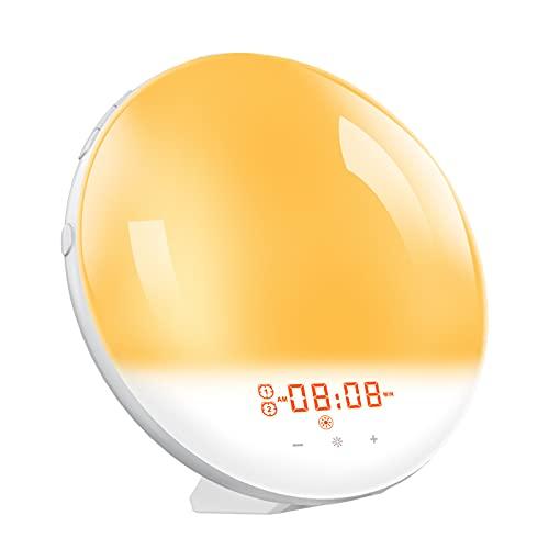 Clock,Luz multifuncional Reloj inteligente Lámpara de mesa con radio FM Reloj despertador Función de...