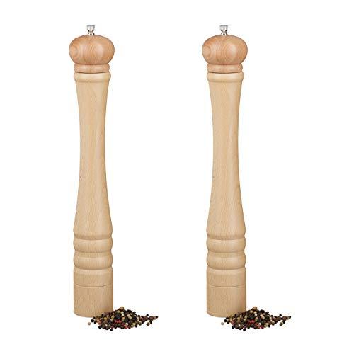 Relaxdays 2 x Pfeffermühle Holz, Keramikmahlwerk, groß, klassisches Design, Gewürzmühle, HxBxT: 40 x 6 x 6 cm, Natur