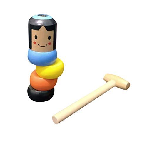 WARMWORD Daruma Doll,Juguete mágico de Madera, Inmortal Daruma Pequeño Hombre de Madera Juguete Tradicional japonés irrompible para Halloween Divertido (Estilo japones)