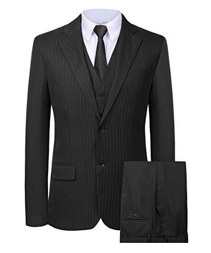 Hanayome Men's Blazer British Style 3PC New 2017 Grey Suit & Pants Vests Set(Grey, 36)