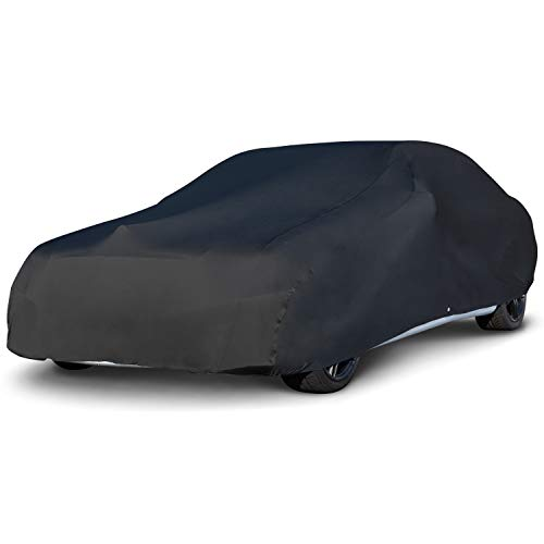 "Budge Indoor Stretch Car Cover, Luxury Indoor Protection, Soft Inner Lining, Breathable, Dustproof, Car Cover fits Cars up to 200"", Black"