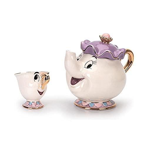 Creativa de bebida caldera y adornos de la Copa, la belleza y la bestia del pote del té, la tetera de cerámica y la Copa Conjunto (1 tetera + 1 taza)