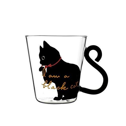 Taza de agua 250ml Linda linda de la leche del gato de gato de la taza de cristal del agua taza de la taza de té de la taza de té de la historieta de la taza de la oficina del hogar para el jugo de fr