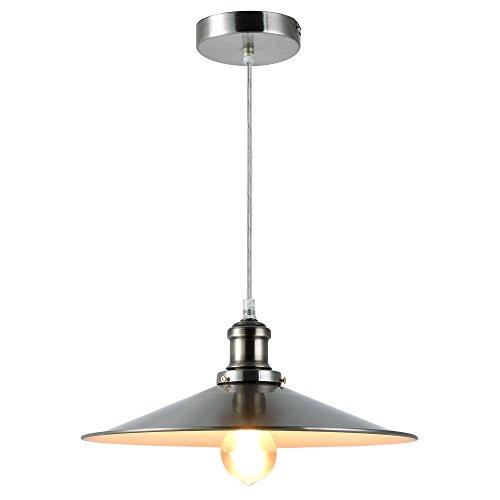 LED Pendelleuchte (Edelstahl) Deckenleuchte (1 x E27 Sockel)(125 cm x Ø 34 cm) Hängeleuchte/Vintage/Retro Design