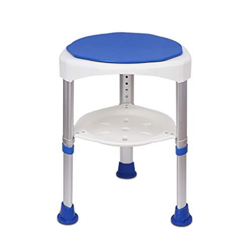 PanYFDD Duschhocker, rund, gepolstert, drehbar, verstellbare Beine, Blau, rutschfeste Sitzbank, leicht mit Ablagefach, für ältere Menschen Marineblau