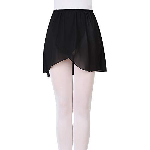 FNYIVDNY Ballet wrap Skirt Chiffon Dance Skirt with Elastic Waistband for Girls&Women, Black, large(Height:4.92-5.58ft,Waist:21-31in)