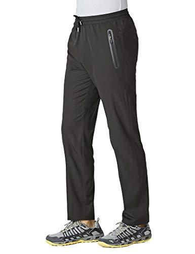 MAGCOMSEN Sweatpants for Men with Zipper Pockets Open Bottom Running Pants Men Workout Pants Hiking Pants Summer Pants Jogger Pants Men Gym Pants Black