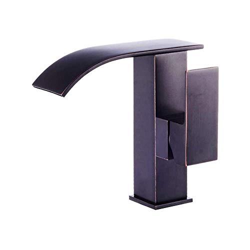 Wasserfall Auslauf Bad Wasserhahn Schwarz Öl eingerieben Bronze Ein Griff Ein Loch Bad Toilette Wasserhahn Auslauf-Waschtisch-Mischbatterie zur Deckenmontage Höhe 17cm