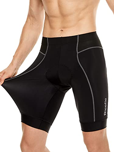 Mens Bike Shorts, Plus Size Cycling Pants Quick Dry 3D Padded Bicycle Undershorts for Biker Black XL