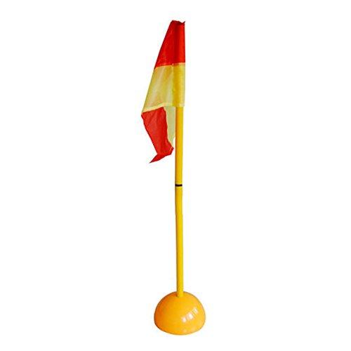 Equipo Fútbol Asta de Banderines de Córner del Fútbol 1 m 2 Sección Desmontable+Base de Agua+Bandera