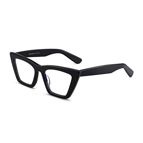 montatura occhiali donna GLINDAR Cat Eye Blue Light Blocking Occhiali Occhiali da Vista per Computer Quadrati Stretti Vintage Montatura in Acetato Nera