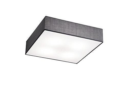 lightling modern Deckenleuchte quadratisch in nickel matt, Stoffschirm grau, 4 x E27 max. 40W, 50 x 50 cm, Höhe: 17 cm