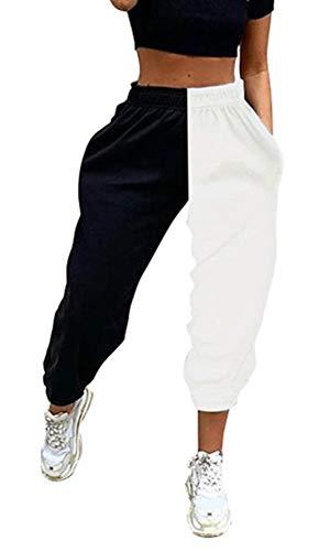Calça de moletom feminina SAMACHICA Active Yoga para treino, calça de corrida, calça capri com bolsos, Black & White, Small