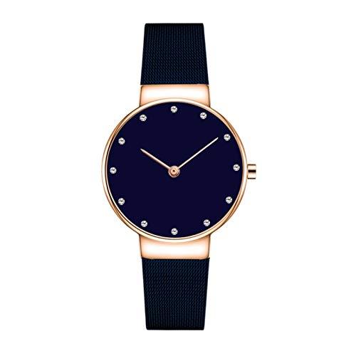 HFQJTU Relojes para Mujer, Mujeres Moda Reloj de Pulsera de Cuarzo con Banda de Acero Inoxidable y Diamante, Elegantes Relojes para Mujer Ladies Business Wristwatch Regalos para Ella (Color : Blue)