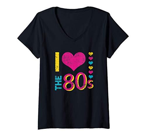 Mujer I Love The 80's Divertido Disfraz años 80 para Hombre Mujer Camiseta Cuello V