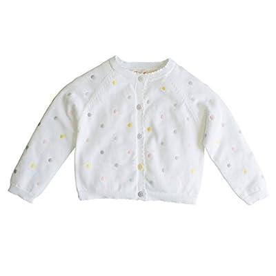 Zubels Baby Girls' Hand-Knit Cotton Pastel Polka Dot Cardigan Sweater, 12 Months, White