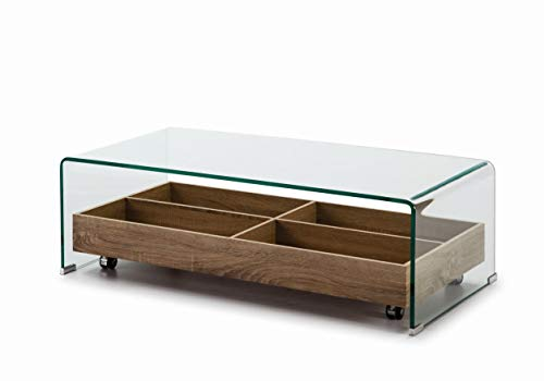 DUGARHOME - Table basse en verre - Table en verre / bois (110 x 55)