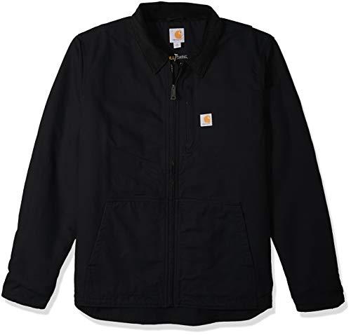 Carhartt Men's Full Swing Loose Fit Washed Duck Fleece-Lined Jacket-Black-Large